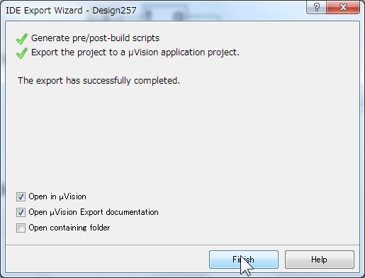 IDE Export Wizard 完了